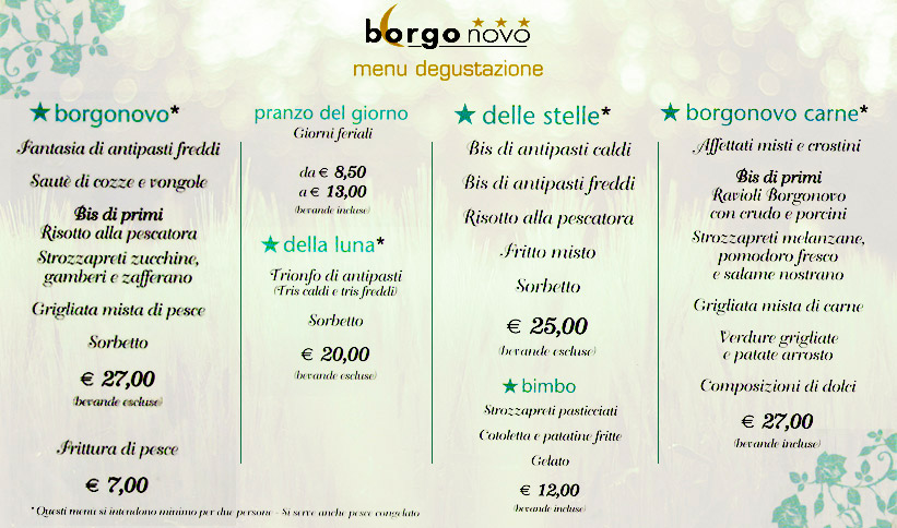 Ristorante ristorante albergo borgo novo - Menu per ospiti a pranzo ...